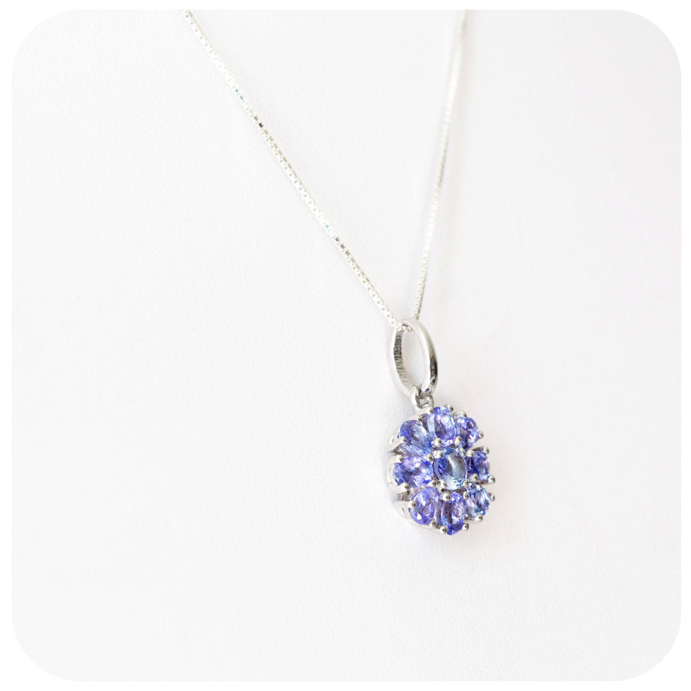 Tanzanite Flower Pendant and Chain in Sterling Silver