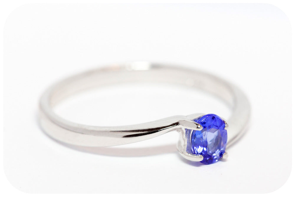 Petite Sterling Silver Ring with Oval cut Tanzanite