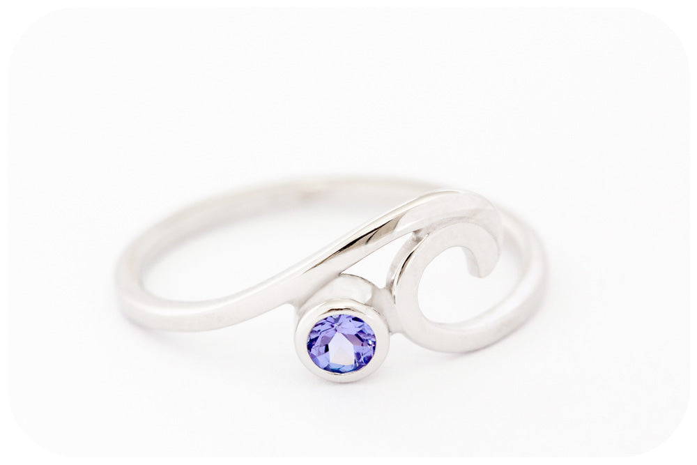 The Wave Ring with Tanzanite Hand Made in 925 Sterling Silver - Victoria's Jewellery