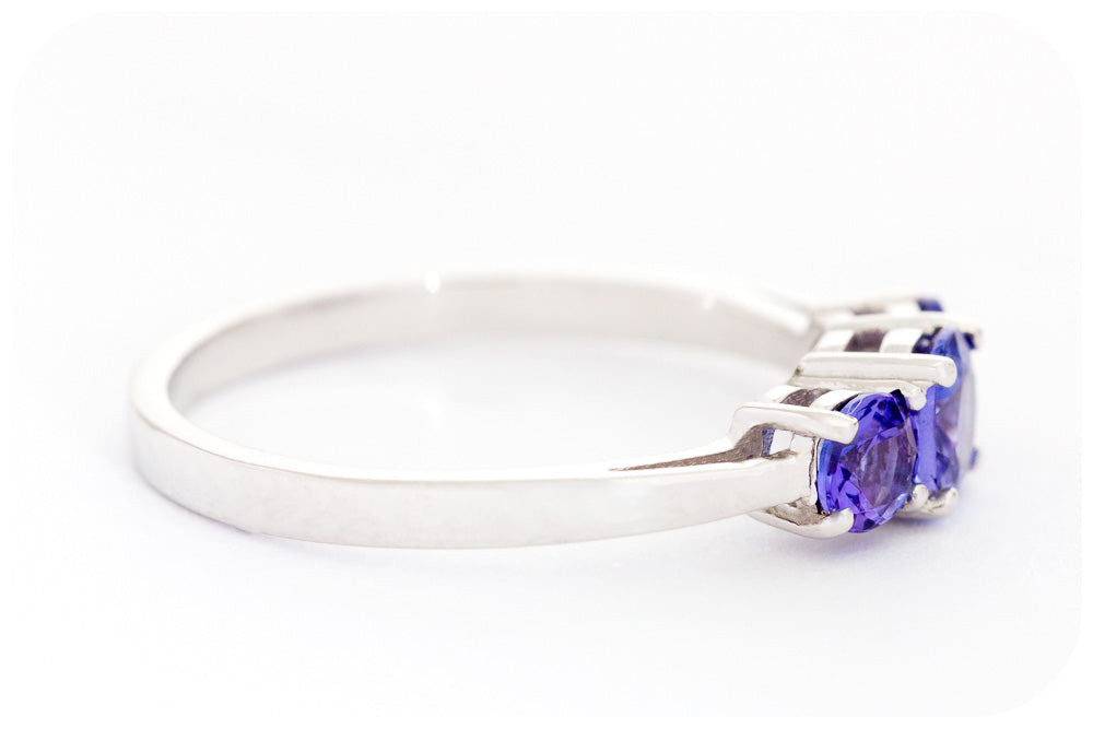 Tanzanite Trilogy Ring in Sterling Silver