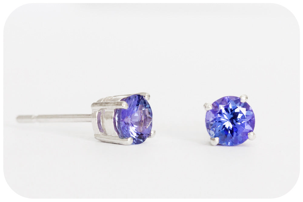 Round cut Tanzanite Stud Earrings in Sterling Silver - 0.75ct