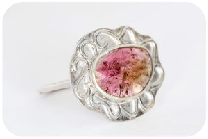 Pink Tourmaline Slice Ring in Sterling Silver