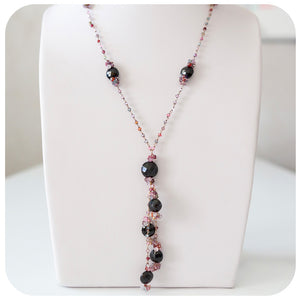 Black and Multi-colour Spinel Necklace in Sterling Silver