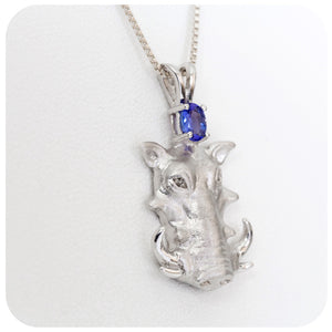 Warthog with Oval cut Tanzanite in Sterling Silver - Victoria's Jewellery