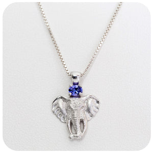 Elephant Head Pendant with Oval cut Tanzanite - Victoria's Jewellery