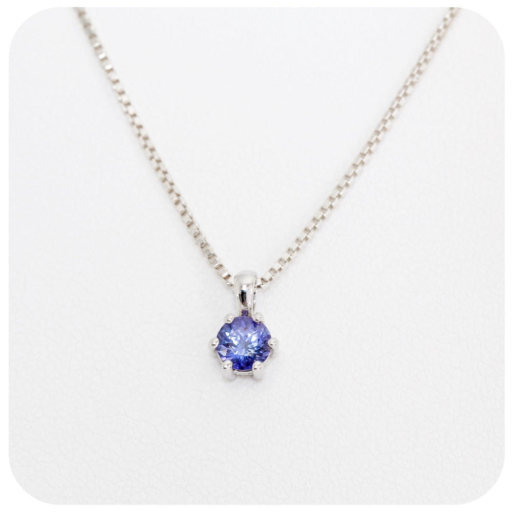 Sterling Silver 6 Claw Pendant with Round Cut Tanzanite - Victoria's Jewellery