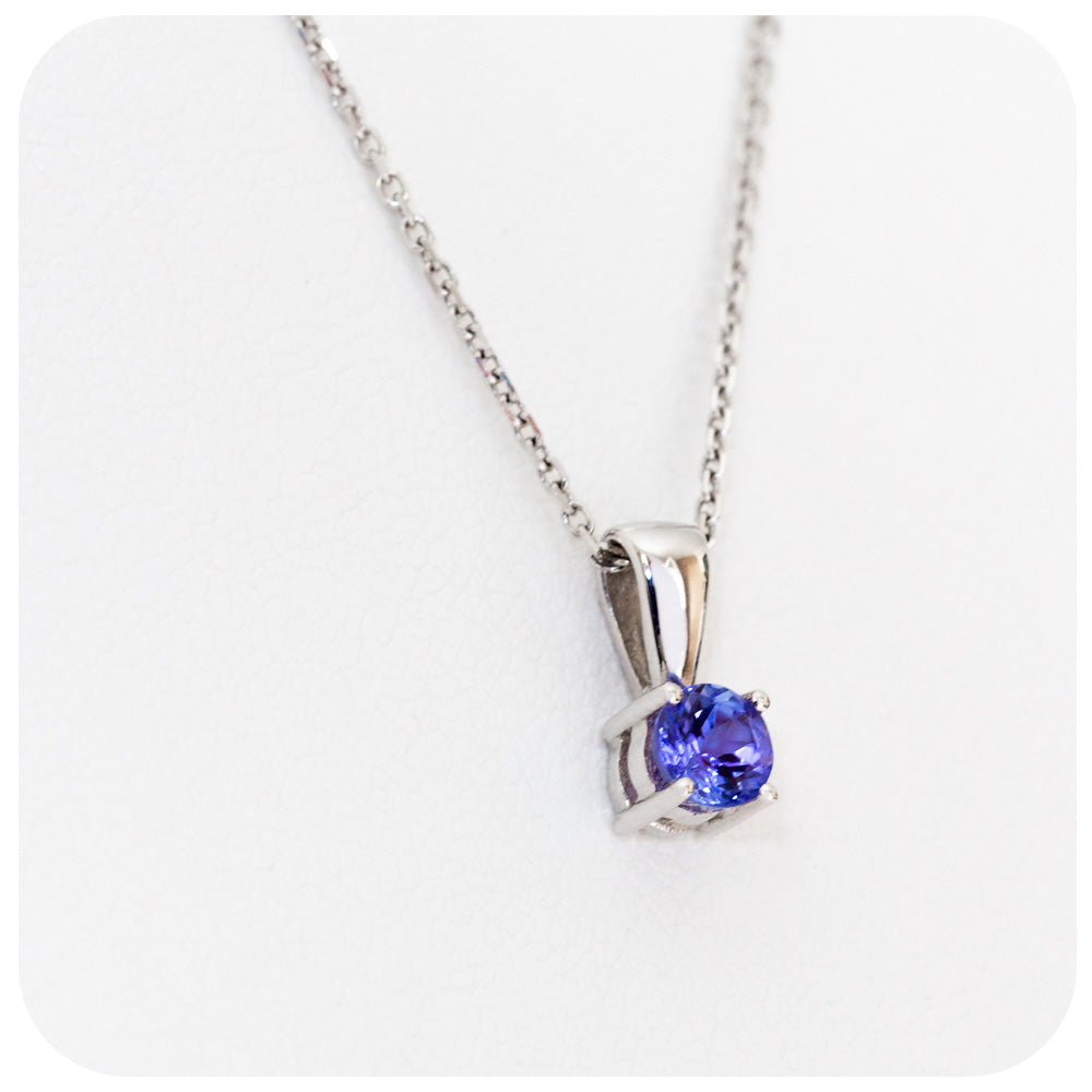 Round cut Tanzanite Pendant in 9k White Gold - Victoria's Jewellery