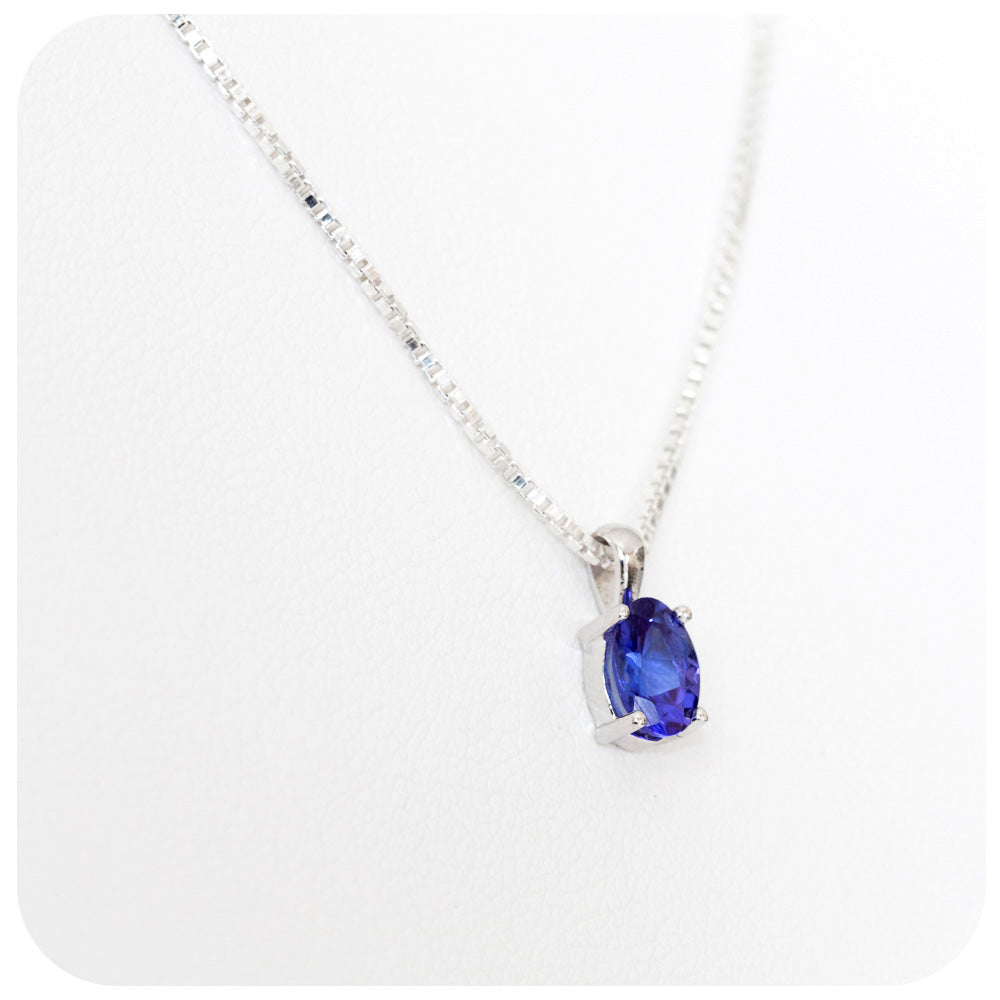 Oval Cut Tanzanite Pendant in Sterling Silver