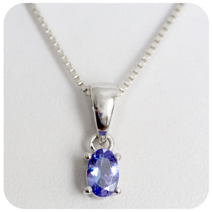 6x4mm  Dainty Silver Oval Cut Tanzanite Pendant Crafted in 925 Sterling Silver - Victoria's Jewellery