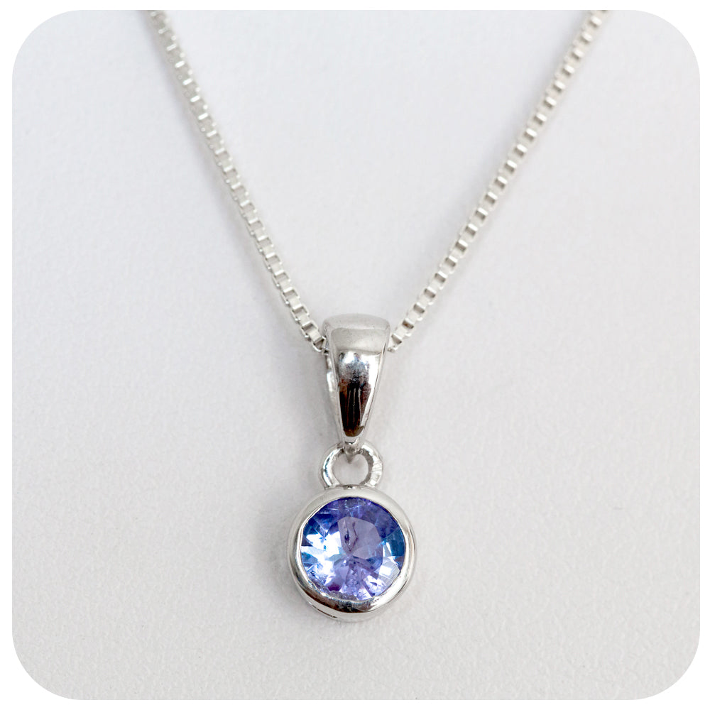 5.5mm Round Cut Tanzanite Pendant Crafted in 925 Sterling Silver - Victoria's Jewellery