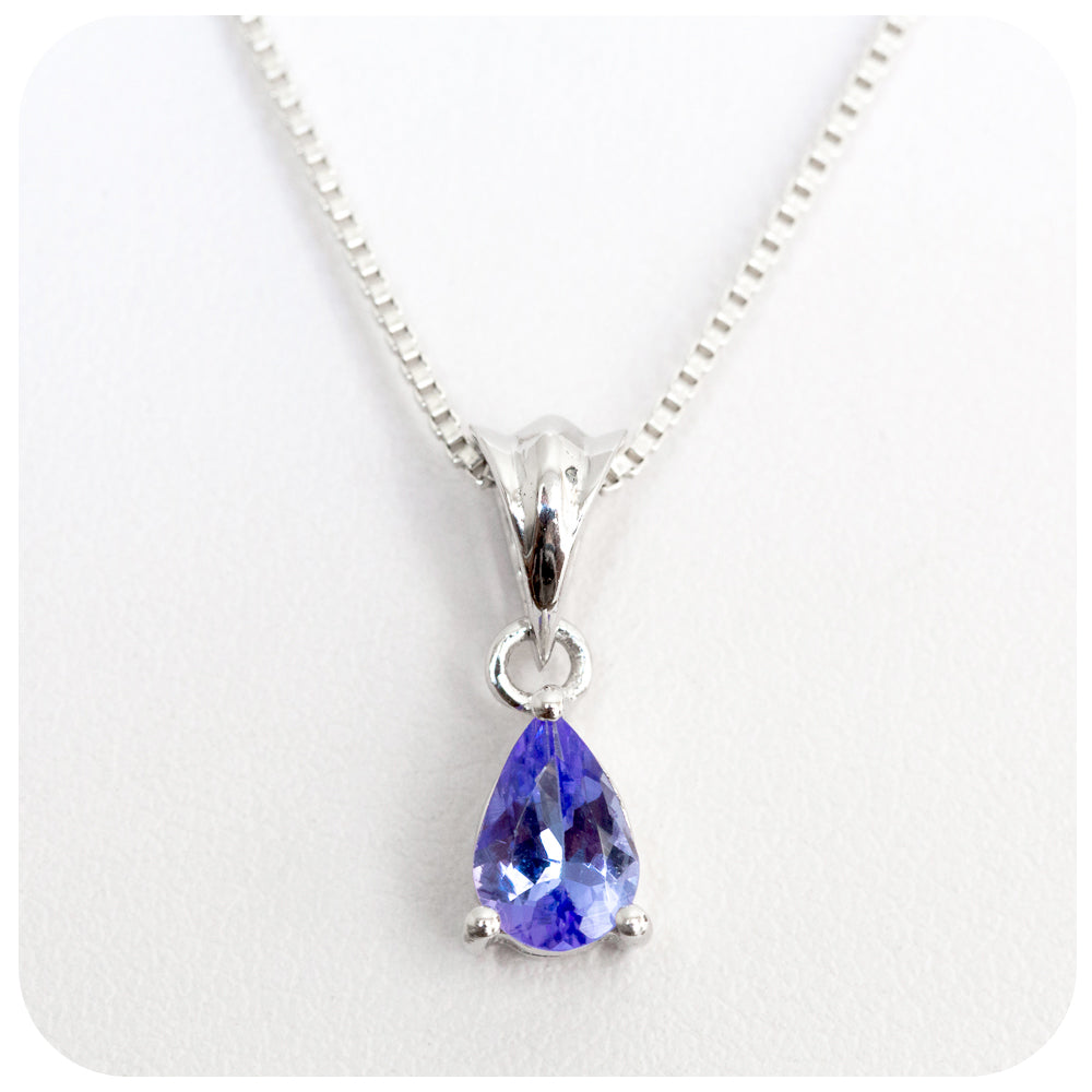 6x4mm Petite Pear Cut Tanzanite Pendant Crafted in 925 Sterling Silver - Victoria's Jewellery