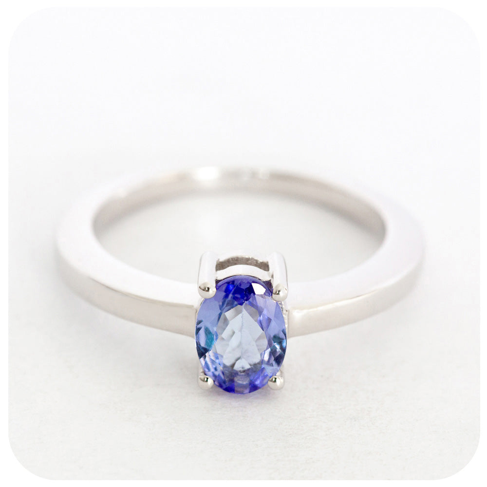 7x5mm Tanzanite Oval Cut Ring Crafted in 925 Sterling Silver - Victoria's Jewellery
