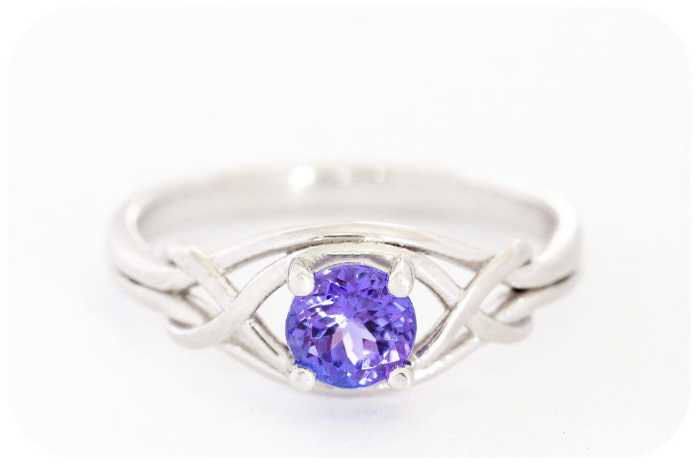 Woven Band and Round Cut Tanzanite Ring - Victoria's Jewellery