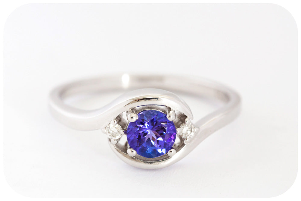 Radiantly Blue Tanzanite and Diamond Ring in 9k White Gold - Victoria's Jewellery