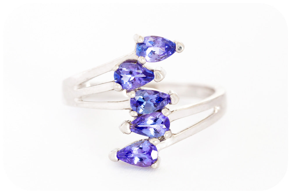 Pear Cut Multi Tanzanite Ring Crafted in 925 Sterling Silver with a fine Rhodium finish - Victoria's Jewellery