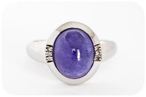 Rich Blue Cabochon Cut Tanzanite Ring Crafted in 925 Sterling Silver - Victoria's Jewellery