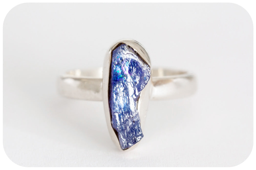 Natural Rough Cut Tanzanite Ring Crafted in 925 Sterling Silver - Victoria's Jewellery