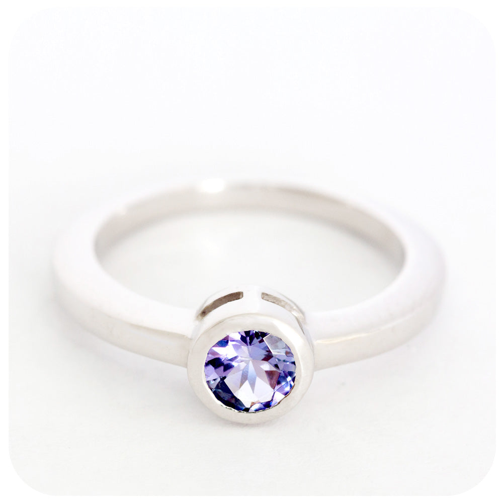 Beautiful 5.5mm Tanzanite Round Cut Ring Crafted with 925 Sterling Silver - Victoria's Jewellery