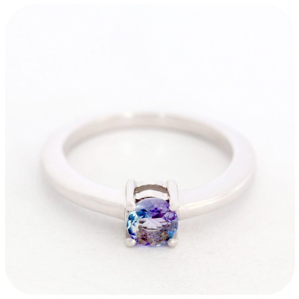 Beautiful 5mm Tanzanite Round Cut Solitaire Ring Crafted in 925 Sterling Silver - Victoria's Jewellery