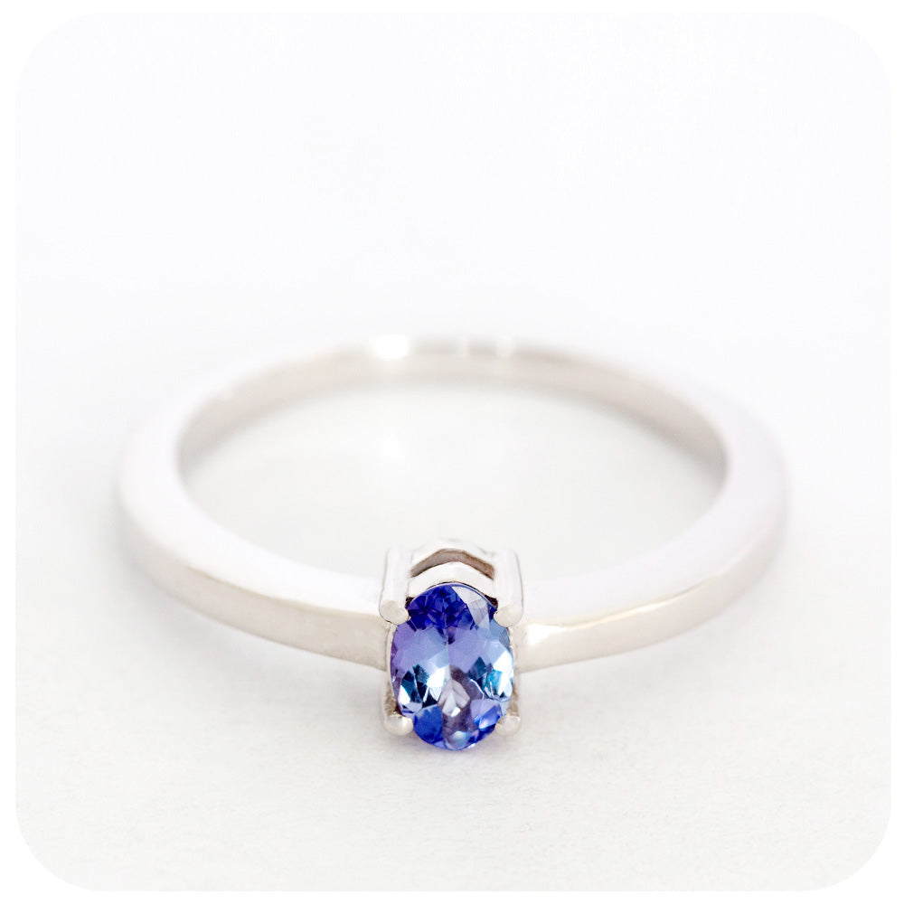 5x3mm Tanzanite Oval Cut Ring Crafted in 925 Sterling Silver - Victoria's Jewellery