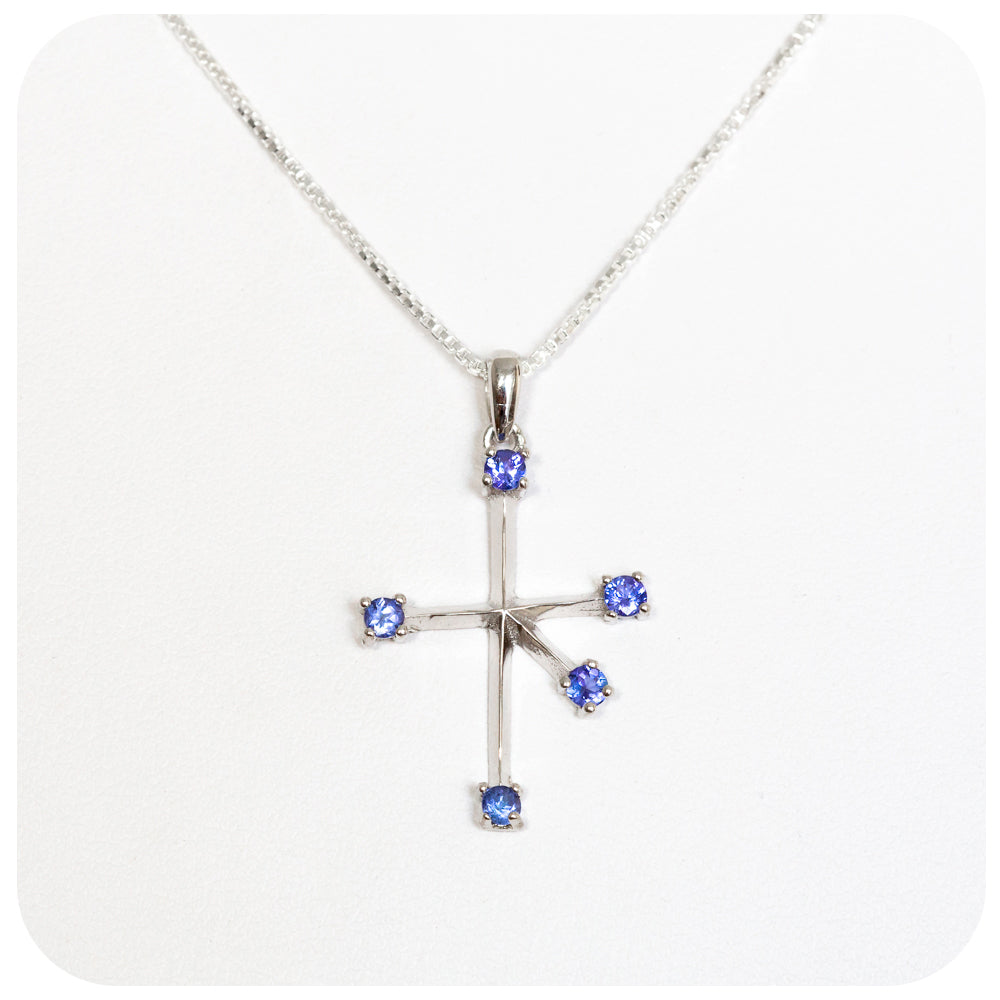 Tanzanite Southern Cross Pendant and Chain loving crafted in 925 Sterling Silver - Victoria's Jewellery
