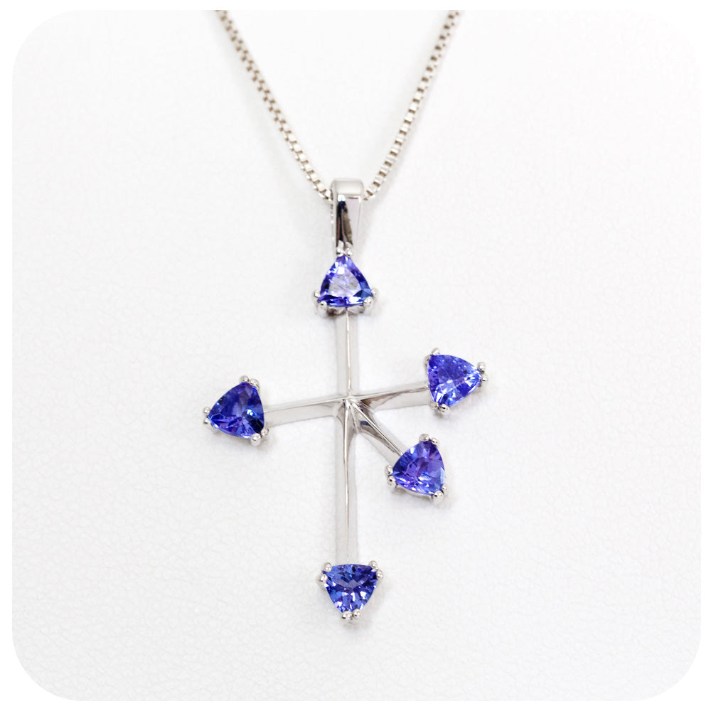 Sterling Silver Southern Cross Pendant with 5 Trilliant cut Tanzanites - Victoria's Jewellery