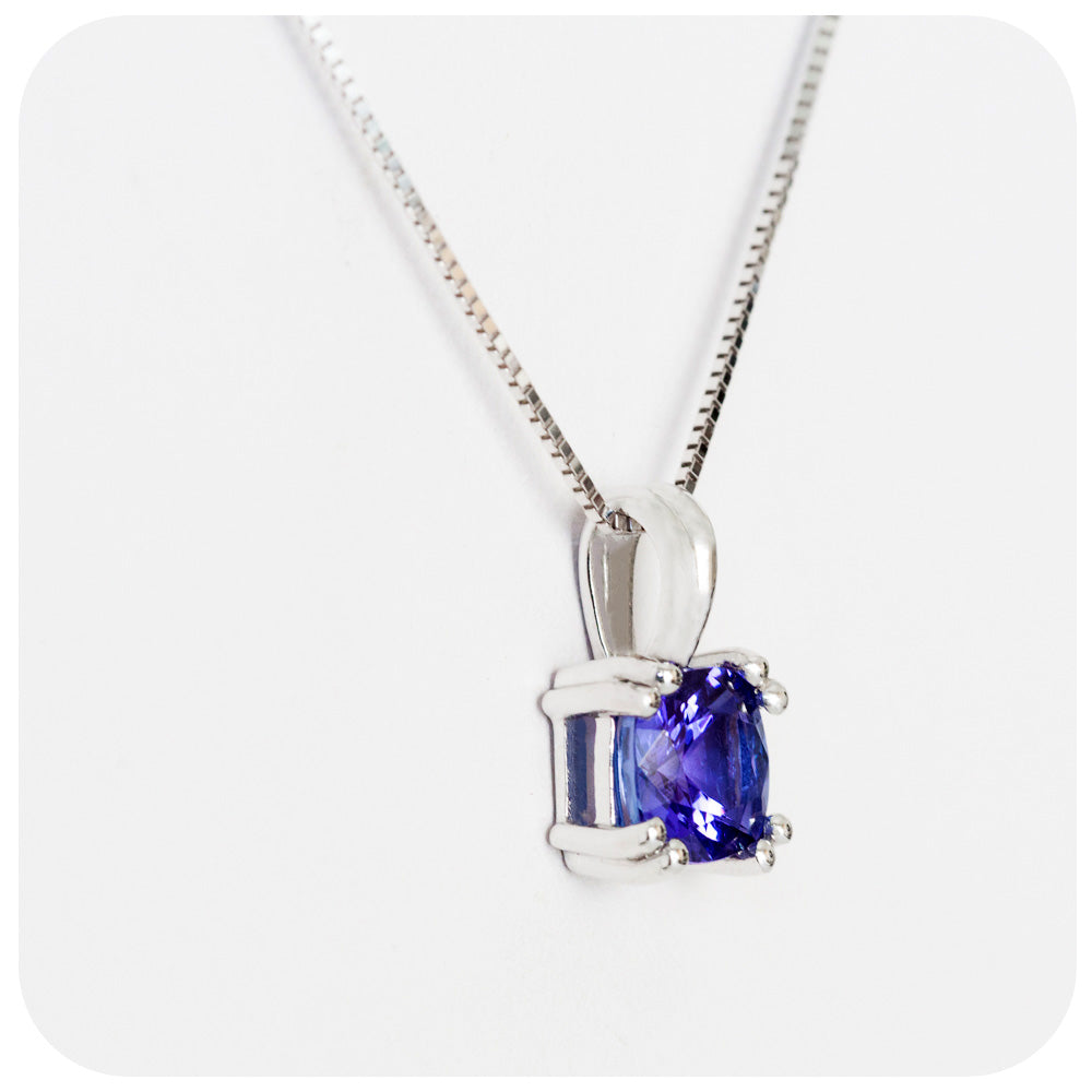 Cushion cut Tanzanite Necklace in White Gold