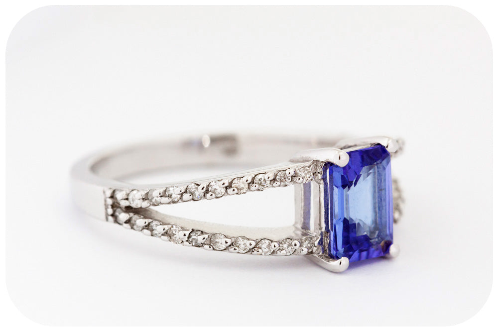 Emerald cut Tanzanite and Diamond Split Band Ring in White Gold