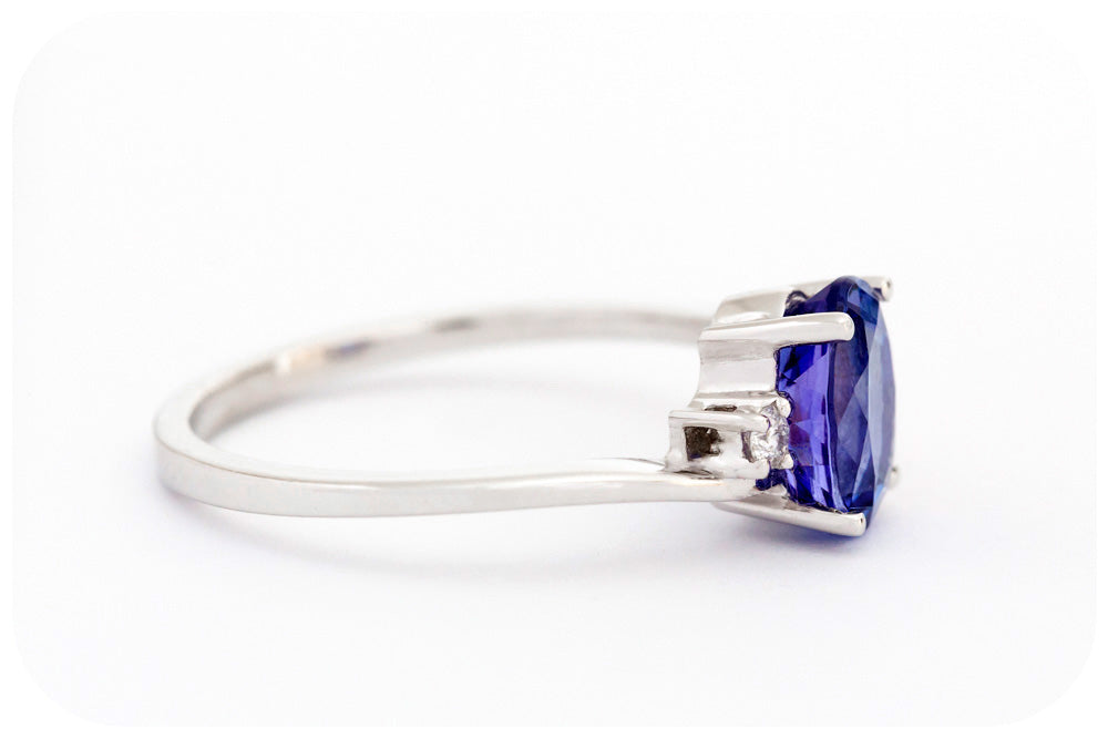 Oval cut Tanzanite and Diamond Ring in Sterling Silver