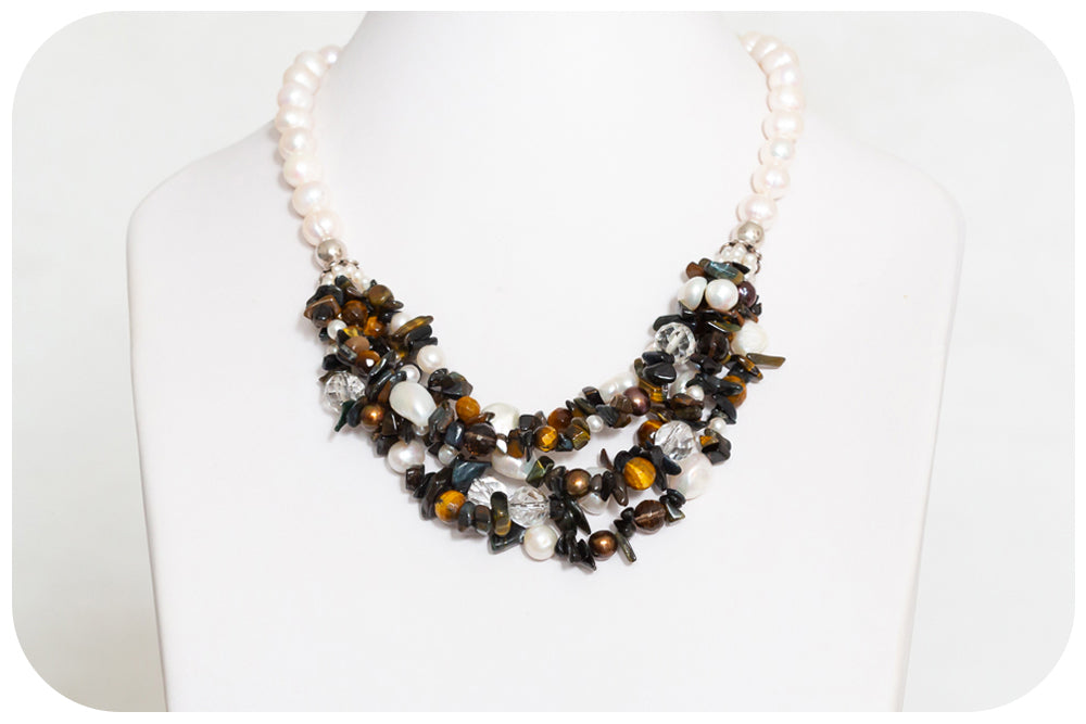 Tiger's Eye and Pearl Necklace - Victoria's Jewellery
