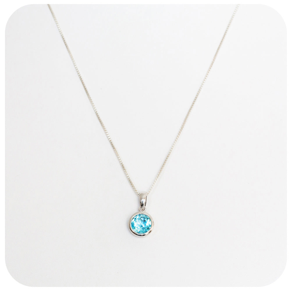 Radiant Blue Topaz Pendant Hand made in 925 Sterling Silver - Victoria's Jewellery