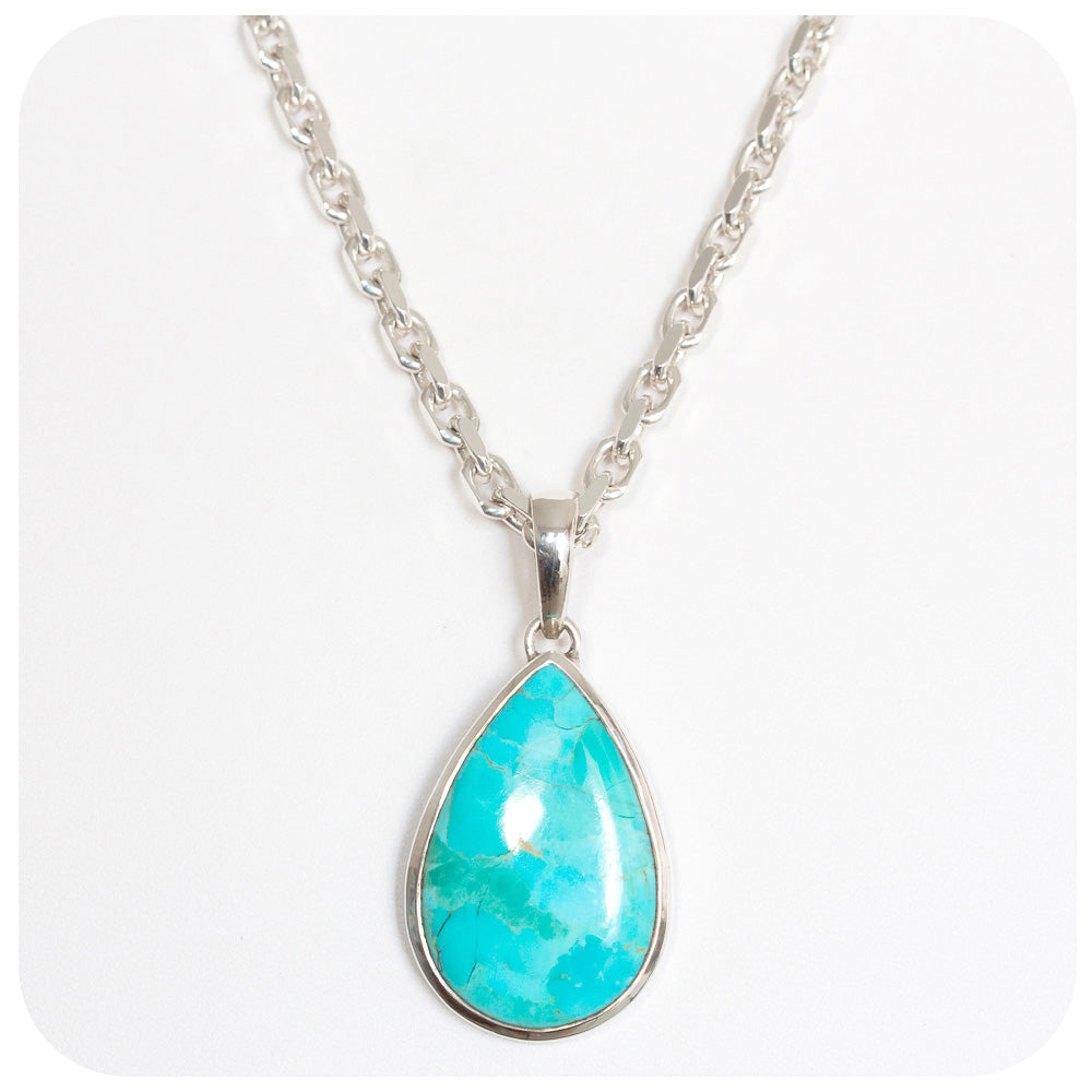 33x21mm Pear cut Turquoise Pendant - Victoria's Jewellery