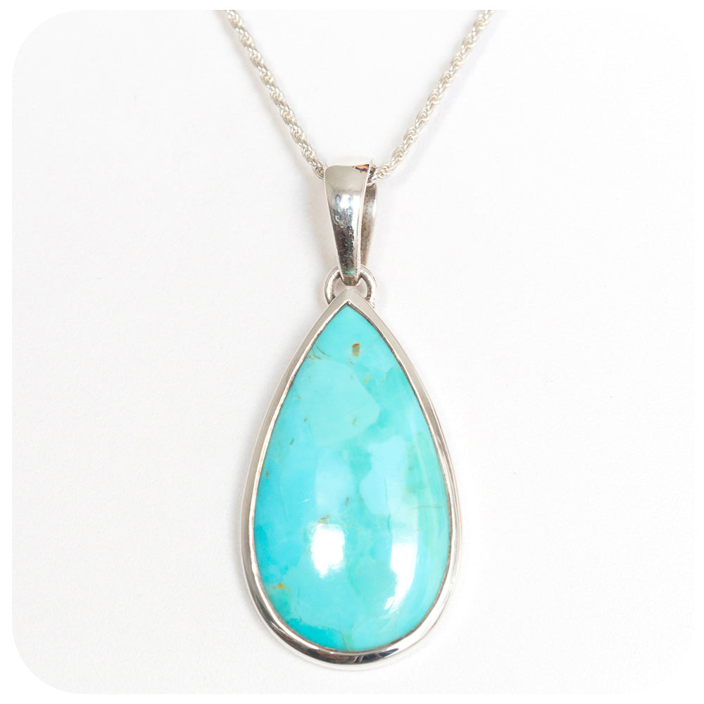 34x17mm Pear cut Turquoise Pendant - Victoria's Jewellery