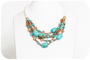 Turquoise, Pyrite and Crystal Necklace - Victoria's Jewellery