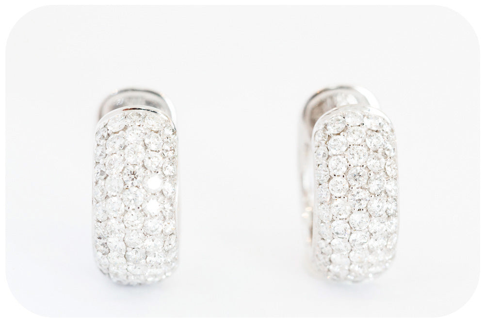 Diamond Encrusted Hoop Earrings in 18k White Gold