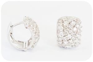 18k White Gold Diamond Huggie Earrings - 1.87ct