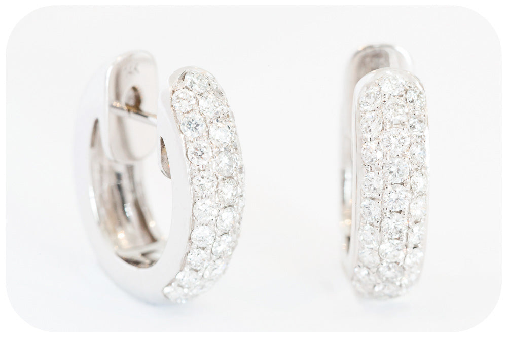 14k White Gold Diamond Hoop Earrings - 0.91ct