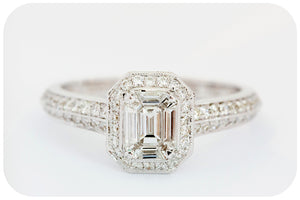 Emerald cut Diamond Ring with Diamond Halo in 18k White Gold