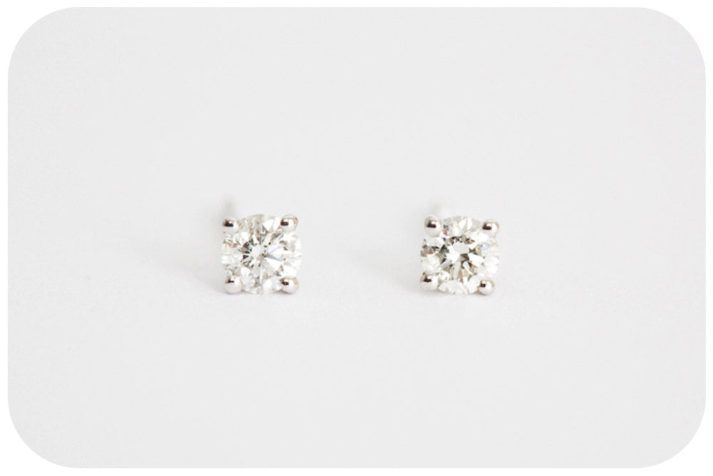 Brilliant cut Diamond Stud Earrings in White Gold - 0.22ct