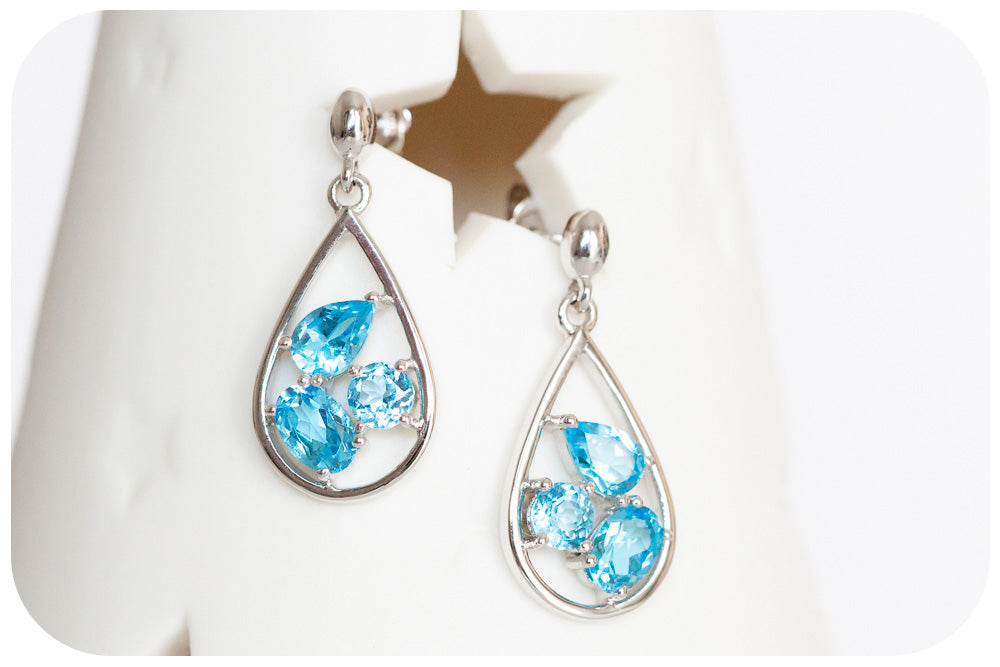 Swiss Blue Topaz Earrings in White Gold