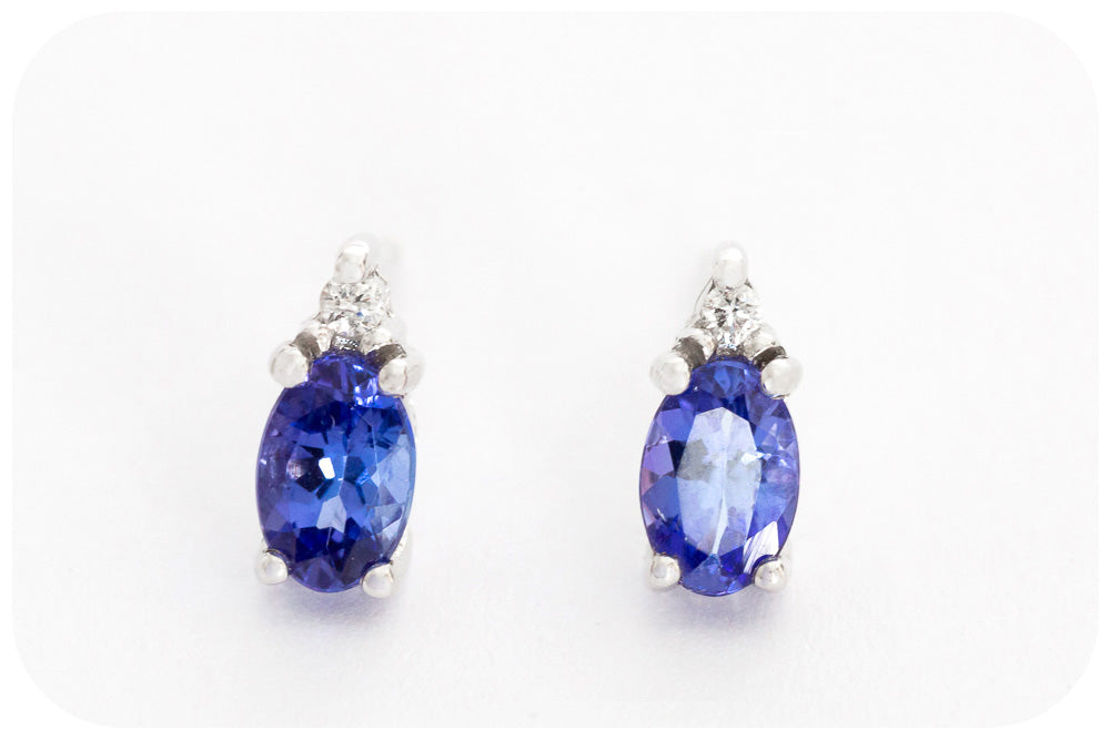 Tanzanite and Diamond Stud Earrings in White Gold - 1.10ct