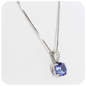 Tanzanite Solitaire Pendant in White Gold with Diamond Detail - 1.87ct