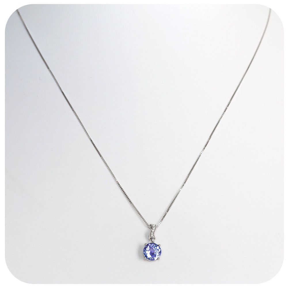 Round cut Tanzanite Solitaire Necklace with Beautiful Diamond Detail - 1.83ct