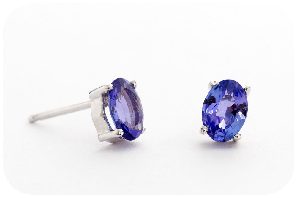 Oval cut Tanzanite Stud Earrings in a Four Claw White Gold Setting - 1.255ct