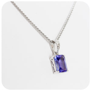 Emerald cut Tanzanite Pendant in White Gold - 1.21ct
