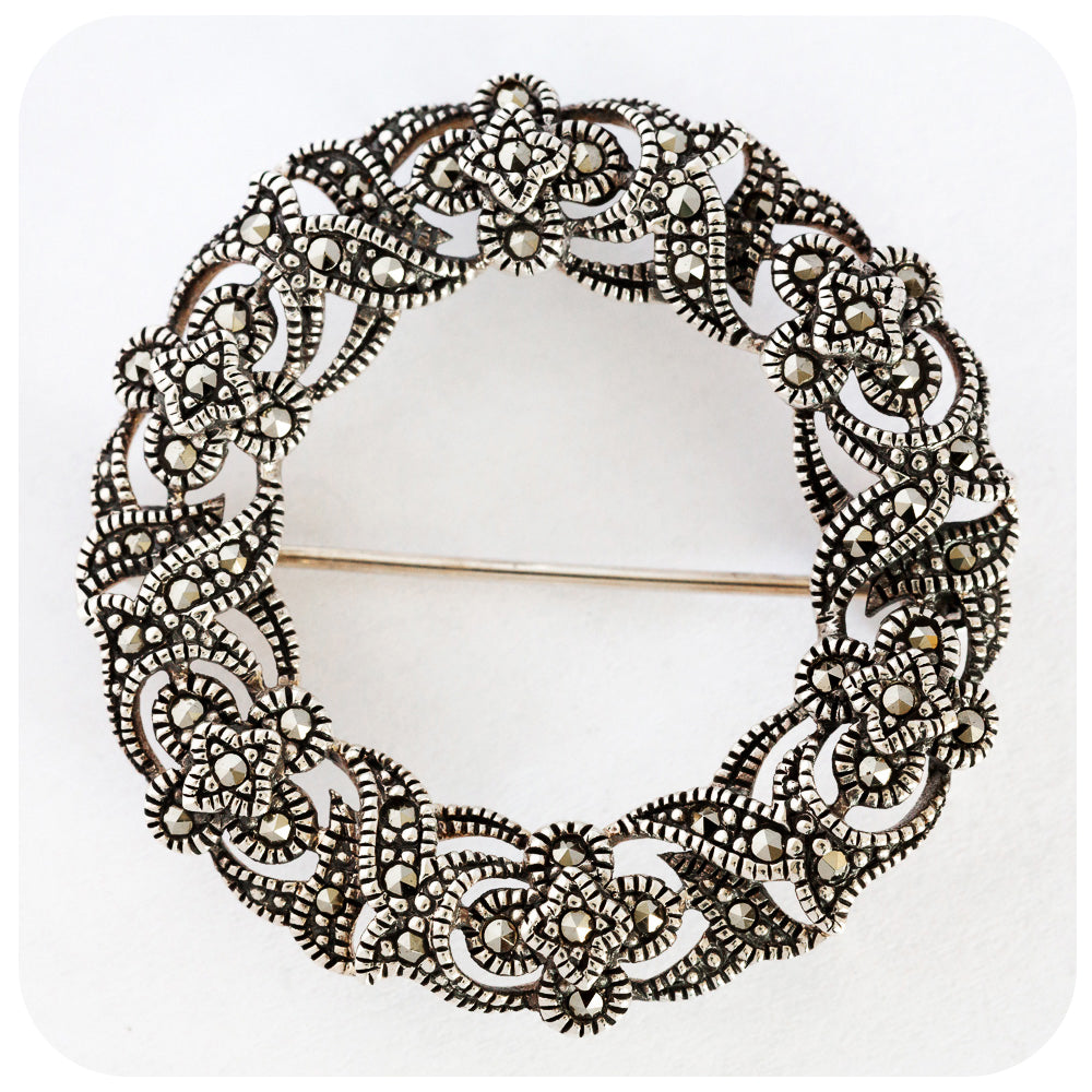 Victorian Marcasite Wreath Brooch crafted in 925 Sterling Silver - Victoria's Jewellery