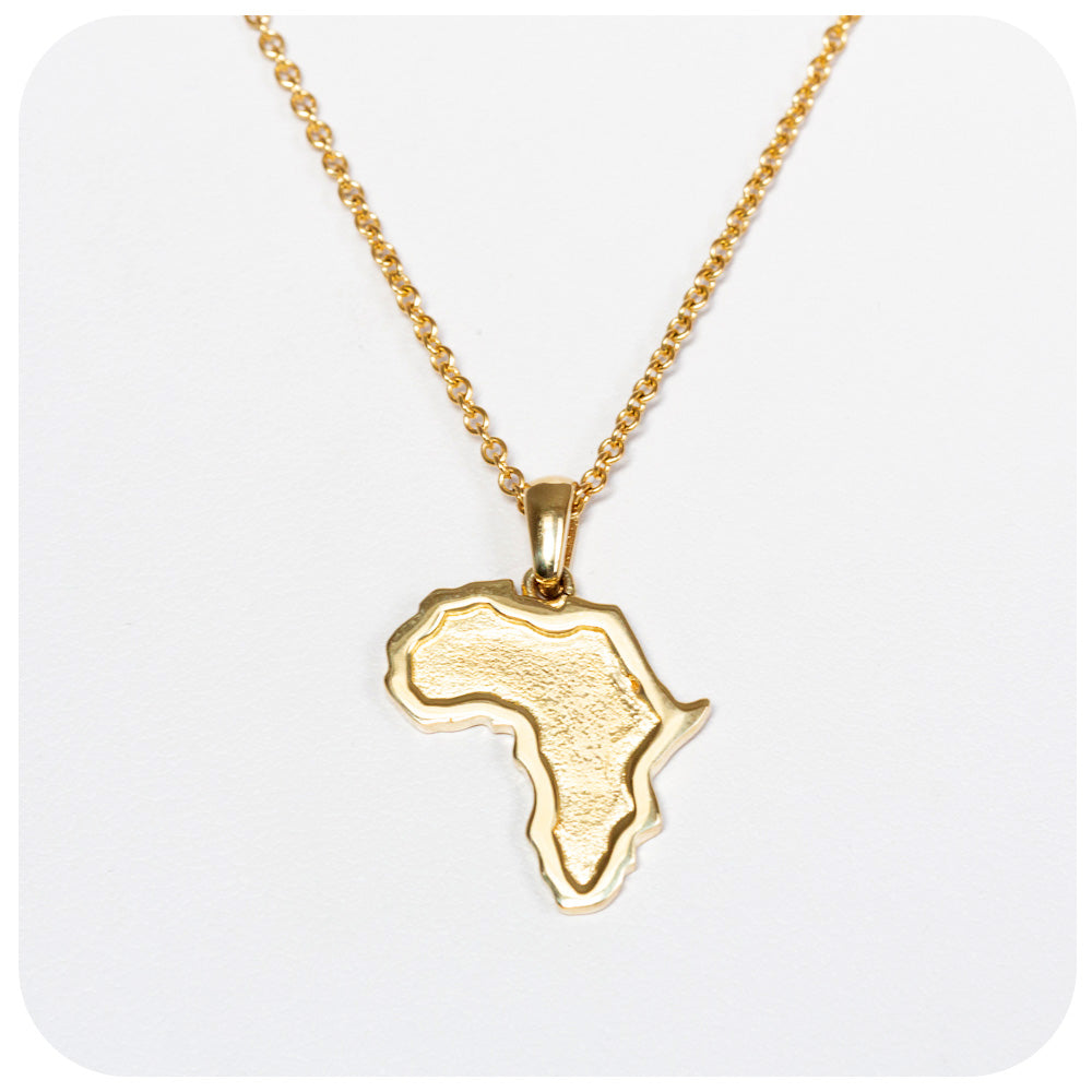 Solid Gold Africa Map Pendant - Victoria's Jewellery