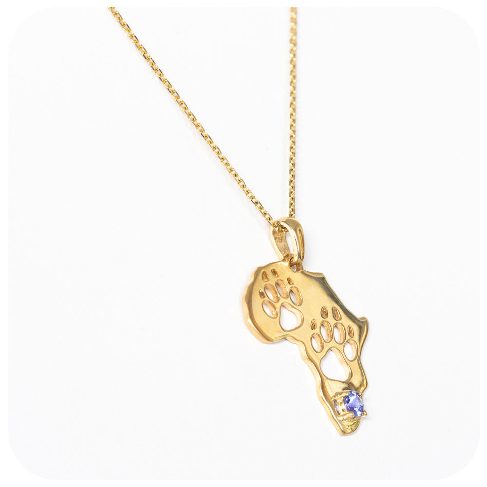 Yellow Gold Paw Print Africa Map with Tanzanite - Victoria's Jewellery