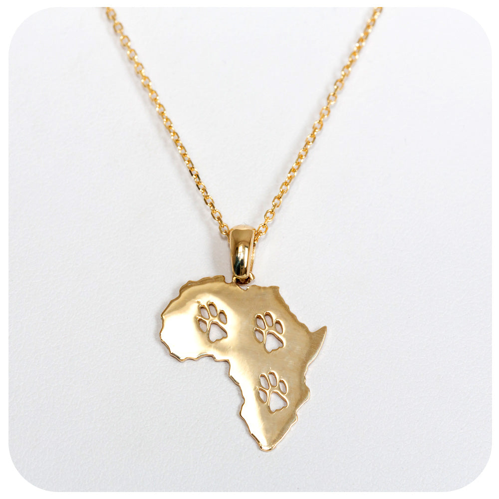 Yellow Gold Paw Print Africa Pendant - Victoria's Jewellery