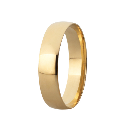 9k Yellow Gold Comfort Fit Wedding Band - 5mm